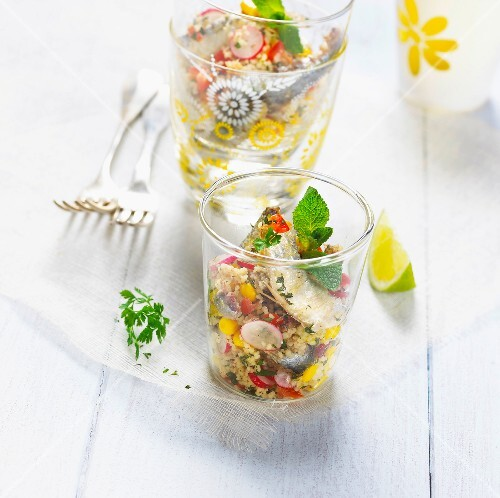 Sardine,radish and sweet corn tabbouleh