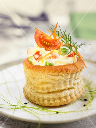 Vol au vent style-Russian salad with tomatoes and carrots