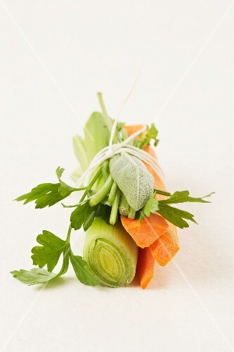 Bundle of vegetables and fresh herbs for a broth
