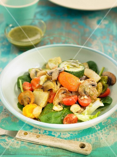 Sauteed vegetable salad :mushroom,zucchini,tomato and carrot