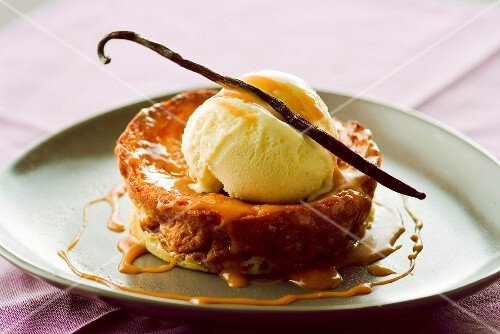 French toast-style brioche with vanilla ice cream and toffee sauce
