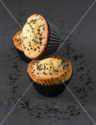 Black sesame seed and candied orange muffins