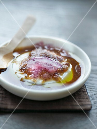 Soya sauce with olive oil and red onions