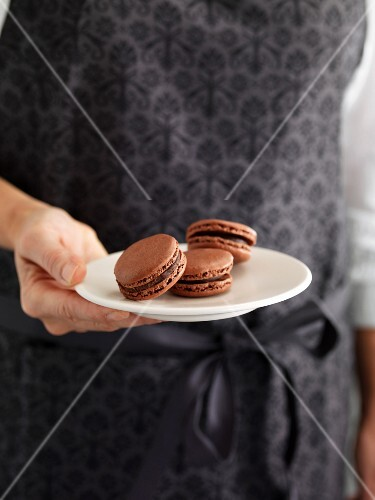 Person holding a plate of macaroons