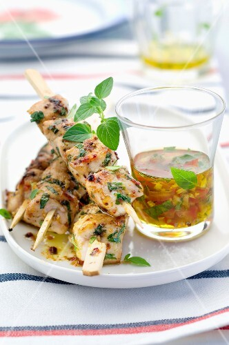 Rabbit and herb brochettes
