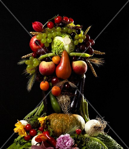 Composition with fruit and vegetables