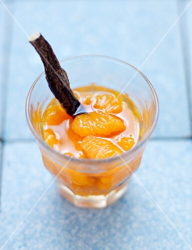 Licorice-flavored clementine soup