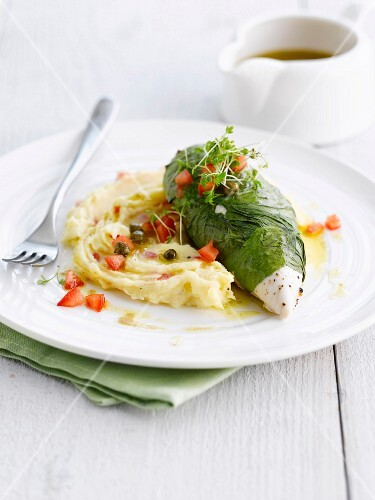 Chicken escalope wrapped in basil, mashed potatoes