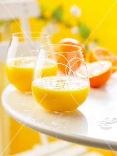 Glasses of freshly squeezed orange juice