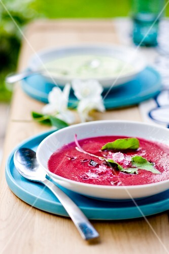 Chilled cream of beetroot soup