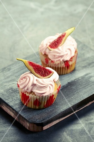 Muffins topped with raspberry mousse