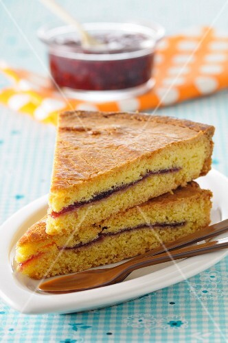 Slices of cherry jam Gateau Basques