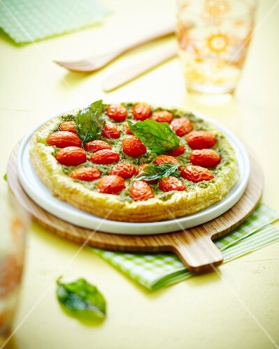 Tomato and pesto flaky pastry tart