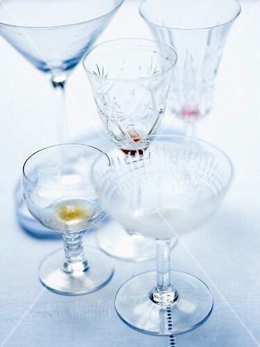 Various empty cocktail glasses