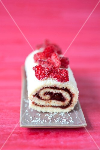 Chocolate and raspberry rolled sponge cake