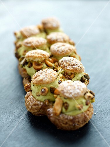 Pistachio and dried fruit cream puffs