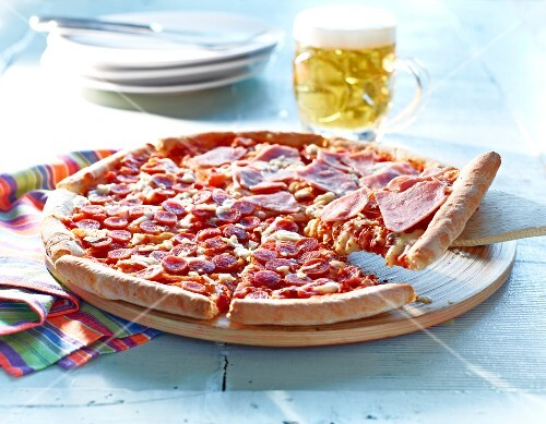 Ham and Chorizo pizza