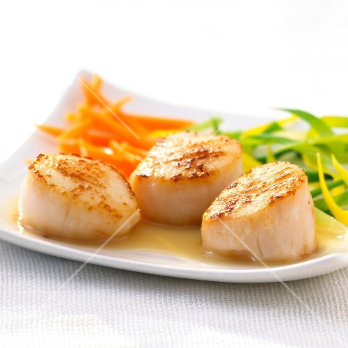 Roasted scallops with truffle-flavored oil