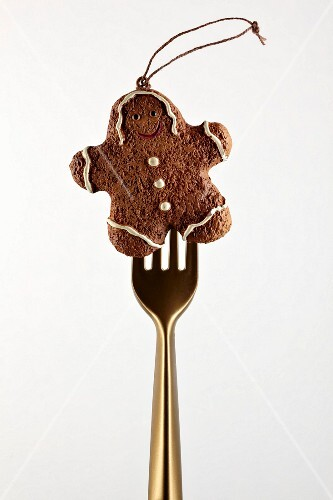 Christmas gingerbread man to hang on the end of a fork