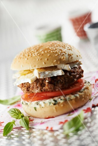 Neufchâtel, tomato and mascarpone with basil veal burger
