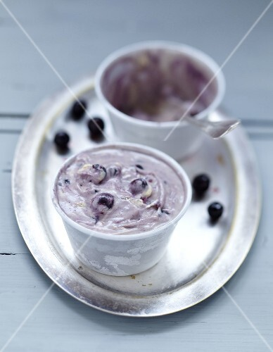 Blackcurrant nougat ice cream