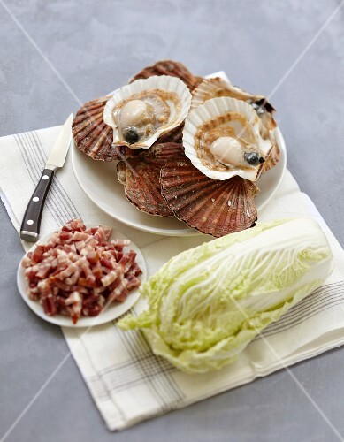 Ingredients for scallops with Chinese cabbage and diced bacon