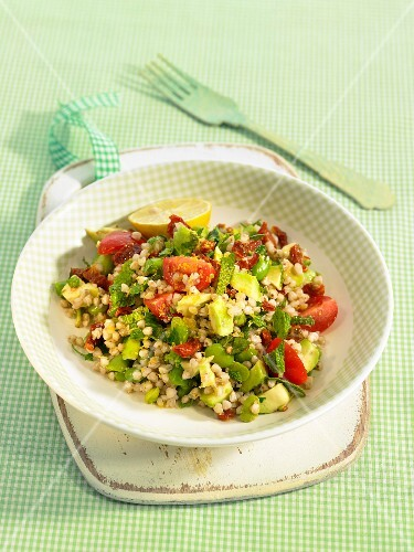 Buckwheat tabbouleh with tomatoes,broad beans and avovado