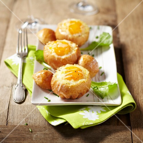 Eggs in brioche nests
