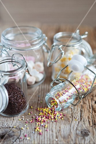 Jars of pastry decorations
