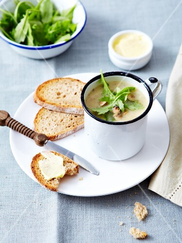 Cream of mushroom soup with crushed hazelnuts