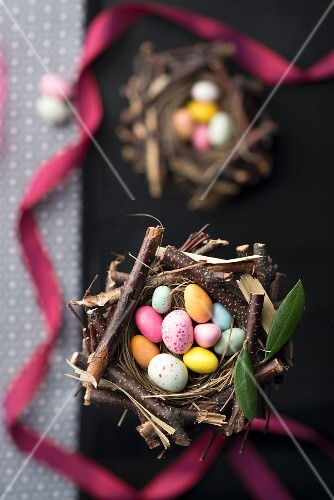 Nests of sugar Easter eggs