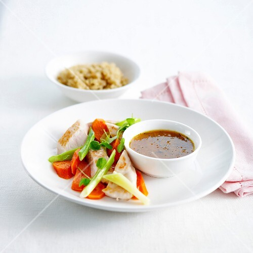 Chicken breast with carrots,spring onions and honey sauce