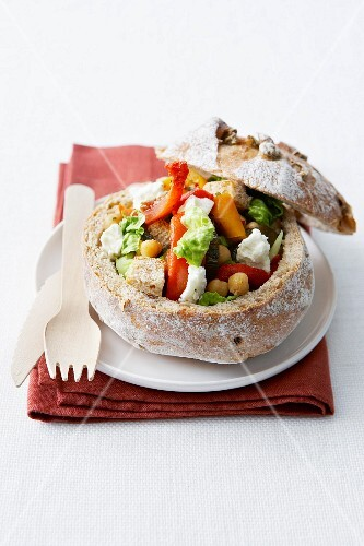 Marinated vegetable and feta fancy round bread loaf