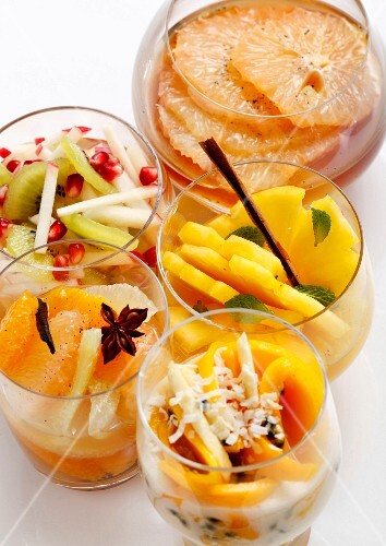 Variety of fruit salads