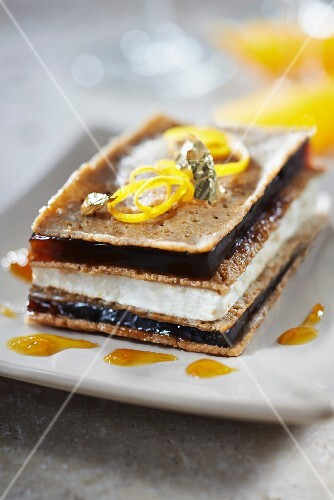 Crisp galette, Petit Billy cheese and coffee jelly layered dessert with Chouchen syrup