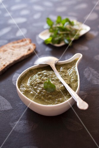 Creamed zucchini and watercress soup