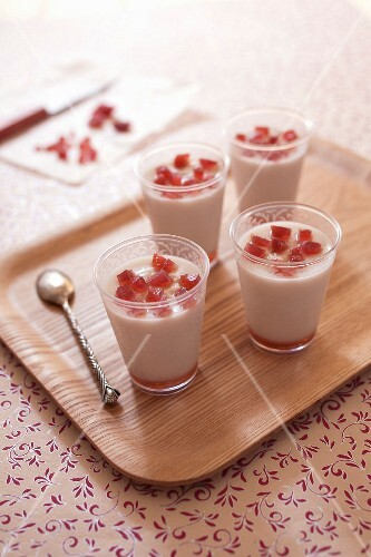 Almond milk and confit strawberry desserts