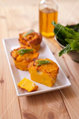 Polenta,carrot and roquefort small flans