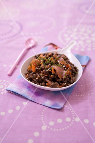 Lentil,smoked salmon and carrot salad