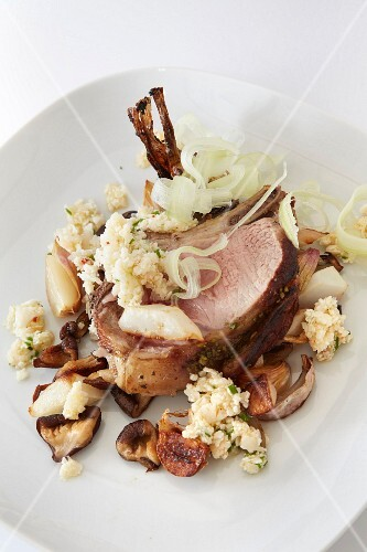 Loin of pork with cauliflower,figs and chestnuts