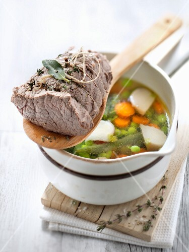 Stringed beef with spring vegetables