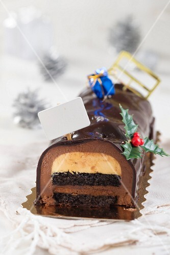 Christmas chocolate log cake