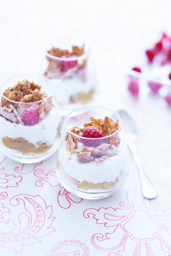 Fromage blanc with rhubarb mousse and cereals