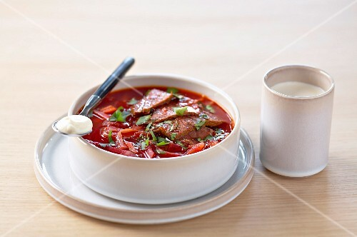 Russian beetroot and beef soup