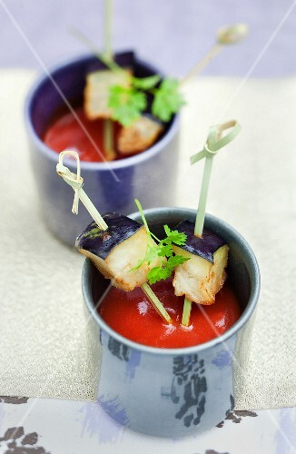 Hot and cold fried eggplants and chilled tomato soup