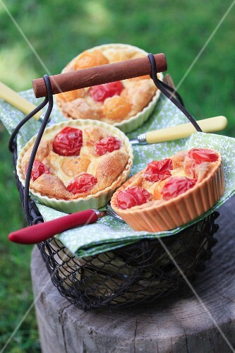 Red and yellow cherry tomato quiches outdoors