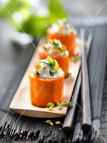 Carrots stuffed with ricotta,pistachioes,mint and raisins
