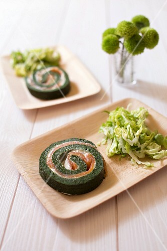 Spinach and salmon savoury rolled cake
