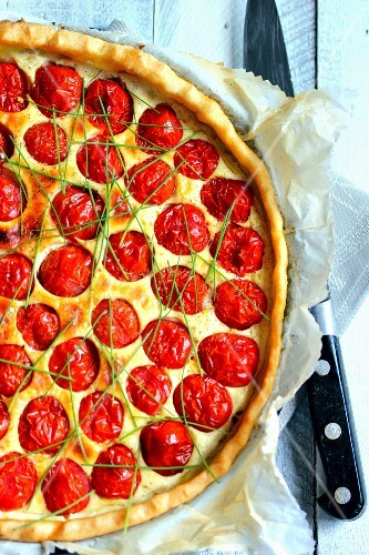 Cherry tomato,goat's cheese and chive quiche