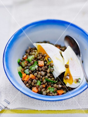Puy green lentil salad with a soft-boiled egg